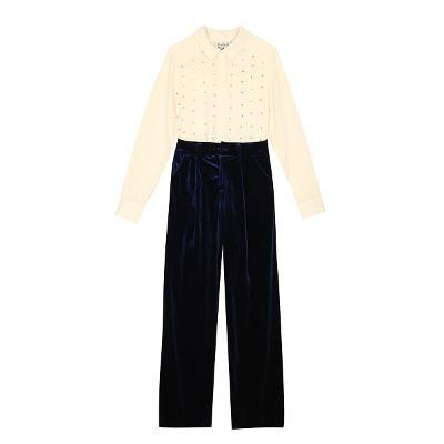 stud detailed blouse & velvet slacks